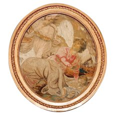 Antique Georgian Era French Silk work Embroidery Tapestry in Frame, Angel & Mortal