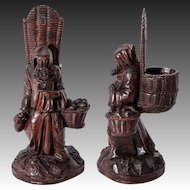 RARE Antique Hand Carved Black Forest Pocket Spill Vase, Cigar Stand or Match Holder