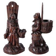 RARE Antique Hand Carved Black Forest Pocket Spill Vase, Cigar Stand or Match Holder