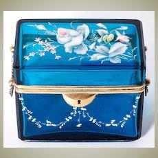 Fine Antique French Sugar Casket, Box, Electric Blue Glass, Enamel & Lock, not Opaline