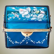Fine Antique French Sugar Casket, Box, Electric Blue Glass, Enamel & Lock, not Opaline