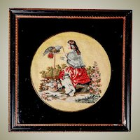 Antique English Victorian Needlepoint of Queen Victoria & Pets, Petitpoint, Lacquer Mat, Wood Frame