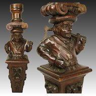 Antique Hand Carved Figural Support, Architectural Salvage from 19th c. Furniture, Bar #3