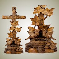 """Antique Hand Carved Black Forest Benitier or Holy Font with Birds & Nest,  Lg 15.75"""" Tall"""