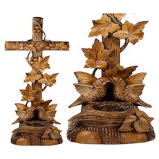 "Antique Hand Carved Black Forest Benitier or Holy Font with Birds & Nest,  Lg 15.75"" Tall"