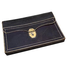 "Antique French 17"" x 12"" Document or Art Folder, Briefcase, Fine Gold Embossed Leather"