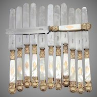Gorgeous Antique French Vermeil, 18K Gold on Sterling Silver, & Mother of Pearl Handled Entremet or Dessert Knife Set, 12pc