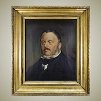 Antique French Oil Painting, Portrait of a Man, Elegant Frame