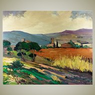 Post Impressionist Vintage Oil Painting on Board, Ready to Frame. Jordi Rosich ROJAS (1927-2000) Signed Landscape #2