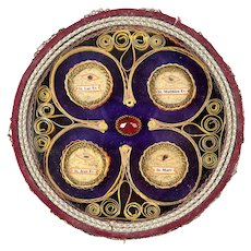 Rare Antique French Reliquary, Large & With Original Seal in Place.  Paperolle, Excellent - Mathew, Mark, Luke, and John