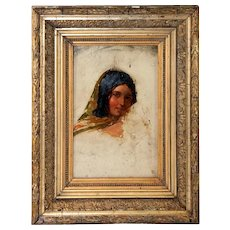 Antique French Oil Painting, Partially Finished Portrait in Oil on Board, in Frame