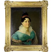 "RARE Antique Museum Quality French Portrait, c. 1820, in Elaborate 30"" x 26"" Frame, ID'd"