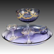 Antique French Crystal Dessert or Fruit Service, Tray, Bowl and Dishes on Stem, Ladle, Raised Gold Enamel