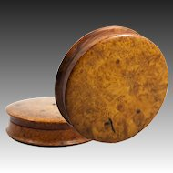 "Large 4.25"" Diam Antique French Burl Wood Snuff Box, Set with Ruby or Garnet Gem"