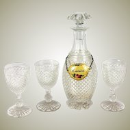 Antique French Baccarat Crystal Liqueur Decanter & 3 Brandy Cordials, c.1800-1830