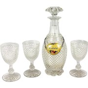 Antique French Baccarat Crystal Liqueur Decanter & 3 Brandy Cordials, c.1800-1830