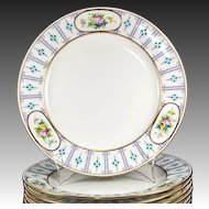 "Set of 12 Antique Minton Dinner Plates, 10.25"", Raised Enamel & HP, Gold Rim, c.1916"