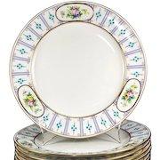 "Set of 12 Antique Minton Dinner Plates, 10.25"", Raised Enamel & HP, Gold Rim, c.1916"