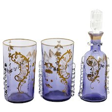Antique Aperitif Set, 2 French Wine Tumblers, 1 Decanter, St. Louis Crystal Raised Gold Enamel