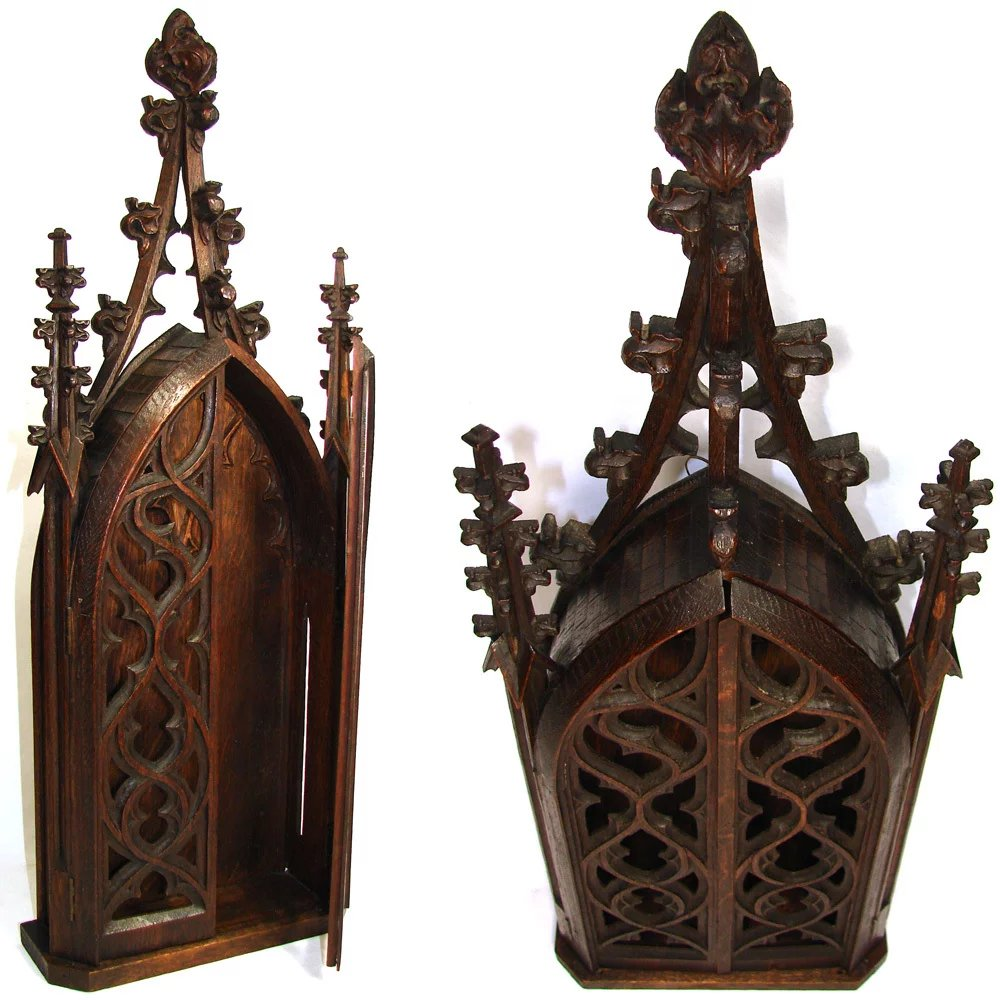 Rare antique gothic style carved wood quot niche or cabinet