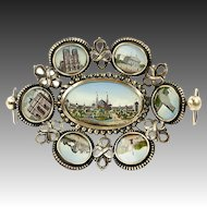 Antique French Paris Expo Grand Tour Souvenir Tray, 7 Eglomise Views of Monuments, c.1889