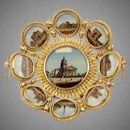 Antique French Paris Grand Tour Souvenir Tray, 9 Eglomise Views of Monuments, c.1880