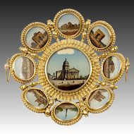Antique French Paris Grand Tour Souvenir Tray, 9 Eglomise Views of Monuments, c.1880