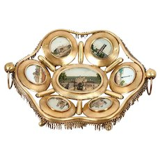 Antique French Paris Expo Grand Tour Souvenir Tray, 7 Eglomise Views of Monuments, c.1890