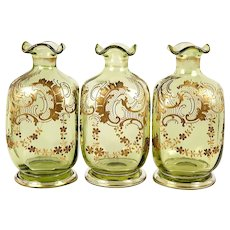 Set of 3 Antique French Raised Gold Decanters, Carafe for Duet Service
