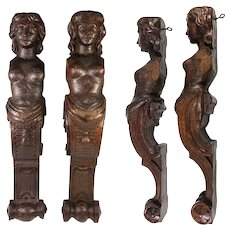 """Antique Pair of Carved Wood Caryatid Figures, 15"""" Tall, Cabinet Panels, Architectural Salvage"""