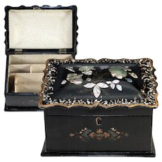 Antique Victorian Papier Mache Stationery or Writer's Box, Mother of Pearl