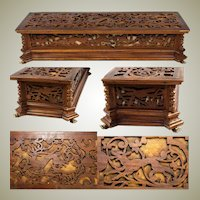 """Antique Black Forest or French Carved Jewelry Box, 14.5"""", With Animals In Carved Pattern"""