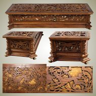 "Antique Black Forest or French Carved Jewelry Box, 14.5"", With Animals In Carved Pattern"