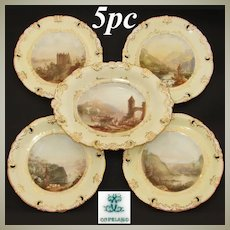 """Antique W.T. Copeland 5pc Cabinet Plate & Serving Dish Set, HP by Ball, c.1848, """"Dresden Form"""""""