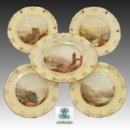 "Antique W.T. Copeland 5pc Cabinet Plate & Serving Dish Set, HP by Ball, c.1848, ""Dresden Form"""