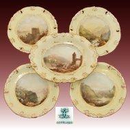 Antique W.T. Copeland 5pc Decorative Cabinet Plate & Serving Dish Set, HP Grand Tour Scenes & Yellow & Gold Borders