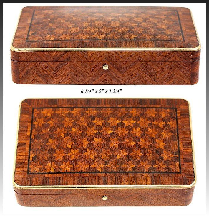 Antique French Marquetry Jewelry Casket, Possible Cigar, Game Or Cards Box,  Napoleon III