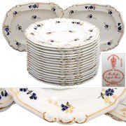 """Rare Antique Royal Crown Derby 10 3/8"""" Plate Set, 14pc with 2pc Serving Dishes with Cobalt Blue & Gold Enamel Flowers"""