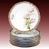 "Set of 9 Hand Painted Haviland Limoges Plates, Date Mark: 1888-1896, 8.5"" Diam."