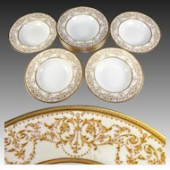 Fine Set of 10 Antique Royal Doulton Soup Plates, Raised Gold Enamel Encrusted, Belle Epoch