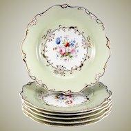Fine HP Antique Old Paris Porcelain Dessert Set, 6 Plates, 1 Platter, Early 1800s