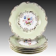 Fine HP Antique Old Paris Porcelain Dessert Set, 6 Plates, 1 Platter, Early 1800s