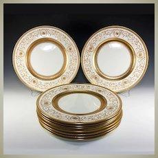 Super set of 9 Raised Gold Enamel Encrusted Dinner Plates, Cauldon, OVINGTON