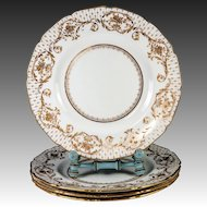 4 Opulent Antique Royal Doulton Raised Gold Enamel & Cobalt Dinner Plate Set,