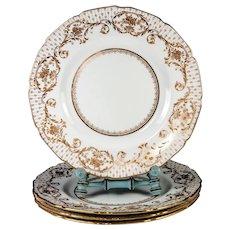 4 Opulent Antique Royal Doulton Raised Gold Enamel & Cobalt Dinner Plate Set,