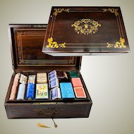Massive Antique French Gaming Chest, Box, Loaded. Marquetry and Drawer, Lock and Working Key