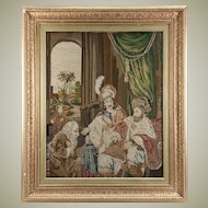 Antique Victorian Era Fine Needlepoint Tapestry in Elegant Frame, King and Throne