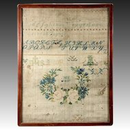 H.E. 1837 - C 1837 Antique Cross Stitch Embroidery Sampler on Linen, in Frame
