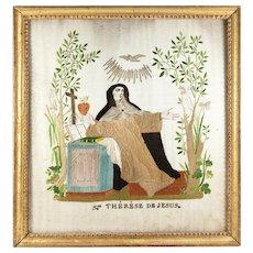 Antique c.1821 French Silk Needlework Sampler #1 in Frame, Signed, of St. Benoit Abbe