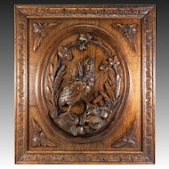 "Superb Antique Black Forest Hand Carved Game Plaque, Wood Panel 25"" x 22.25"" for Wall or Cabinetry"